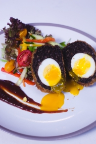Scotch Egg served with Chili Ketchup and Summer Salad