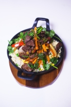 Stir Fried Beef Fillet served with Five Spice Vegetables and Egg Fried Rice