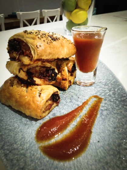 Caramelised Red Onion and Black Pudding Sausage Rolls with Homemade Ketchup