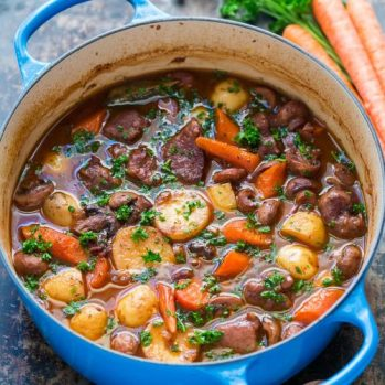 Traditional Lamb Stew ( RINGSEND STEW ) with Rosemary and Mint Dumplings SERVES 3-4 Ingredients 1 KG Lamb Shoulder trimmed and cut into 3 cm chunks 4 Large Peeled Potatoes cut into large chunks 2 meduim white onions roughly chopped 1 medium swede cut into large chunks 3 large carrots cut into chunks 1 litre of lamb /BEEF STOCK Small knob of butter Fresh parsley 2 bay leaves Sprig of thyme 4 celery stalks trimmed and cut into chunks 2 tbsp rapeseed oil 1 lamb bone optional Salt and pepper Rosemary and mint dumplings 125g/ 4 ½ oz plain flour 70 g /2 ½ oz suet Pinch salt 1 egg ½ Teaspoon of Baking Powder 1 teaspoon chopped rosemary herb 1 teaspoon chopped mint herb ½ Teaspoon of mint sauce Method Pre heat oven to 375 f ( 190 c /GAS MARK 5 ) 1-Melt butter and oil in hot pan 2-Fry lamb chunks till browned all over approx 5 mins 3-Transfer to casserole dish 4- Fry onions ,carrots and celery in same pan as lamb was sealed off in 5-Remove vegetables just before they begin to brown and place in to casserole dish 6-Pour stock into pan and stir till boiling point combining all the meat juices 7-Pour stock over the meat and vegetables in casserole dish and then add bay leaf ,thyme and the Lamb bone 8-Season with salt and pepper 9-Cover and place into pre heated oven for 1 ½ Hours or until meat is tender 10- Remove stew from oven and make Dumplings 11-To Make Dumplings 12- Mix the flour ,Suet, Baking Powder and a pinch of salt in a bowl 14-Add Rosemary ,mint ,mint sauce and egg then gradually stir in 3 tablespoons of cold water enough to form a sticky dough 15-Flour your hands and then roll the dough into 12 small balls 16-Place them on top of casserole Lamb and veg stew and return to oven for a further 25 mins till dumplings are cooked and golden 17- remove from oven and top with chopped parsley ENJOY SEVED WITH HOMEMADE SODA BREAD